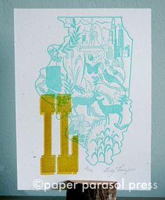 Illinois Letterpress Folk Wycinanki Woodtype Print by paperparasol, $18.00 #paperparasolpress
