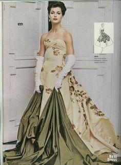 Evening gown by Piere Balmain, 1956.
