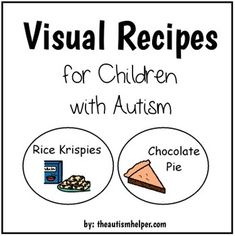 This packet contains the visual recipe and comprehension worksheet for Rice Krispies and Chocolate Pie (no bake!). Cooking is a fun and motivating activity that is great for language development, sequencing, fine motor skills, reading, and following directions!