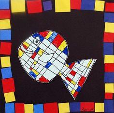 un poisson comme Mondrian Piet Mondrian, Kindergarten Art Lessons, Art Lessons Elementary, Classe D'art, Ecole Art, Ouvrages D'art, School Art Projects, Preschool Art, Art Lesson Plans