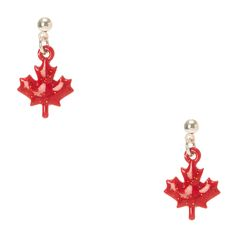 Canada Day Glitter Maple Leaf Drop Earrings