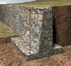 Gravity Retaining Wall, Rock Retaining Wall, Retaining Wall Design, Concrete Retaining Walls, Diy Concrete Planters, Gabion Wall, Landscaping Retaining Walls, Backyard Landscaping, Stone Wall Design