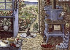 Blue Stove, a painting by Janet Kruskamp, an antique stove sits in old country kitchen by the sea. Apples are being peeled and pie dough is rolled out in preparation for the making of  a pie. A mother cat and one of her kittens sun themselves in the doorway, while other kittens frolic on the warm cobblestone  floor. Another painting from the Interior and Exterior Scenes Paintings Gallery of Original Oils and  Personally Enhanced Giclees, signed by Janet Kruskamp.