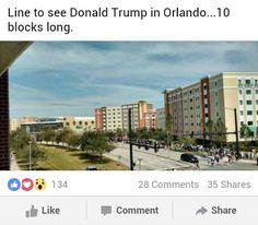 Trump in Orlando...the line is 10 blocks long #MediaLiesMatterToLibtards