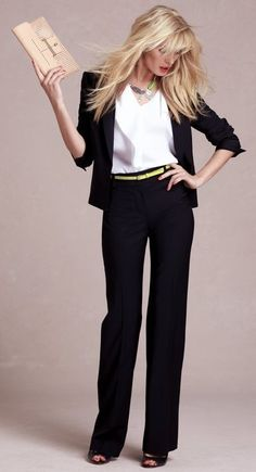 Black pants and jacket with white blouse clothes by Faye C.