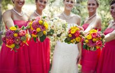 Coral color wedding bouquets of dahlias, ranunculus, billy balls, and scabiosa pods  #bouquets