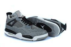 "Michael Mens Jordan 4 3Lab4 ""Elephant Print"" in Cement Grey/Black and White Design"