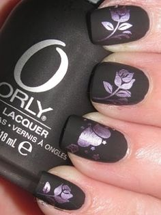 black matte with lavender designs nail art so pretty you need to try this one since of my learning disabilities I don't have a steady enough force to make any of these designs but this is sure one of the most beautiful posted by lotionsource