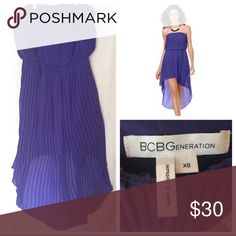 BCBGeneration high low strapless dress. XS purple BCBGeneration blue-ish purple high low dress (XS). Used twice. Small pinhole-type snags as pictured above can possibly be fixed. Otherwise in good condition! BCBGeneration Dresses Strapless