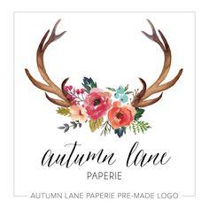 Premade Logo diseño rústico ciervo asta Logo por AutumnLanePaperie