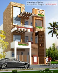 Flat House Design, House Outer Design, Narrow House Designs, Bungalow House Design, House Front Design, Modern House Design, Front Elevation Designs, House Elevation, Indian House Plans