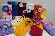 "Crochet ""flower garden"" mobile cases"