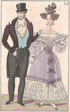 1829 evening dress for man and woman vintage fashion plate