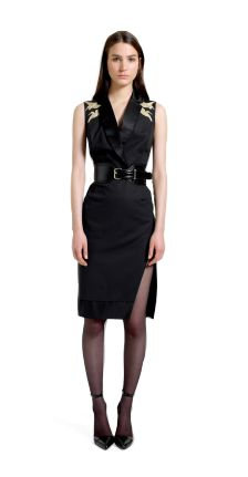 WANT. My favorite piece. Structured Dress with Crane Embroidery – Croc Effect Belt & Ankle Strap Shoes in Black.