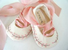 Embroidered Organic Silk Pink  Jane Austen Ballet Slipper Shoe For Your Baby Girl