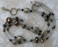 Beaded Lanyard ID Badge Holder Chocolate Filigree FREE SHIPPING teacher lariat brown crystals beads. $16.99, via Etsy.