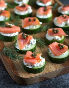 Everything Bagel Cucumber Bites. These light healthy cucumber bites are topped with everything bagel cream cheese and smoked salmon.