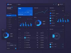 FinWave Dark designed by Rostislav. Business Dashboard, Analytics Dashboard, Dashboard Template, Dashboard Design, Interface Design, User Interface, Data Visualization Examples, Data Visualisation, Web Design Websites