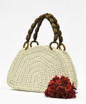 PAULA-laukku, luonnonvalkoinen / ruskeat kahvat | Tuulia design. Iloa & Ideaa askarteluun ja käsitöihin!