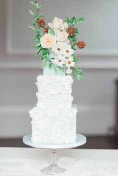Blue floral wedding cake by bespoke wedding cake designer -MonAnnie. Featuring floral appliqué detail and an organic arrangement of pale peach and white sugar flowers. | Photography by Hannah Mcclune. 3 Tier Wedding Cakes, Elegant Wedding Cakes, Beautiful Wedding Cakes, Floral Wedding, Big Indian Wedding, French Blue Wedding, French Chateau Wedding Inspiration, Wedding Cake Inspiration, Wedding Ideas