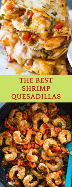 A tasty mixture of spicy shrimp, sautéed onions & bell peppers, garlic, and melted cheese crisped in a tortilla. These quesadillas are simpl. Fish Recipes, Seafood Recipes, Gourmet Recipes, Mexican Food Recipes, Cooking Recipes, Healthy Recipes, Shrimp Dinner Recipes, Best Shrimp Recipes, Mexican Dishes