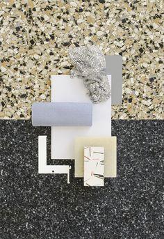 Material Mood Of The Week ~ Ziggy Pattern & Metalic Fabric #materialmood #moodboard #materials #samples #design #interior #designconcept #quartz #coatedmetal #terrazzo #mdfboard #kvadrattextiles #rafsimons #vidar #oliviaaspinallstudio #handmadesample #studiodavidthulstrup