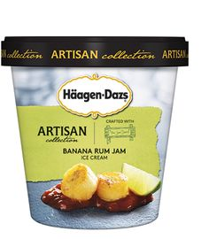 Häagen-Dazs Artisan Collection Banana Rum Jam | inspired by drunken monkey™ jam from the jam stand® in brooklyn, this uniquely flavored recipe combines a banana, rum and lime swirl into smooth vanilla bean ice cream.