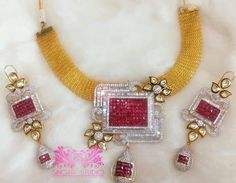 Kundan Studded Ethnic Pretty Necklace Set is Crafted with Kundans & AD which Enriches It's Look To Adorn Your Beauty. #Sparkling #kundan #Kundan #Pearls #pearls #necklace #desi #desibride #bollywoodjewelry #desijewelry #bollywoodfusion #dubai #mumbaifashion #vamadesigns #singarjewelry #Earrings #gold #desibeautyblog #asiana #asian #dressyourface #instafashion #picoftheday #singarstudio