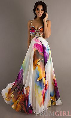 Open Back Long Print Prom Dress with Cut Out Sides 8713
