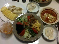 【6/30・夕飯】冷やし中華、トマトとレタスの酸辣湯(サンラータン)スープ、寄せ豆腐、カットフルーツ