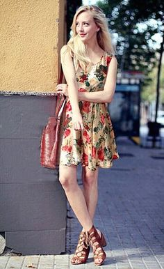 2015 spring casual Bohemian floral beach chiffon dresses | GonChas