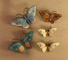 Five Norwegian Sterling and Enamel Butterfly Pins
