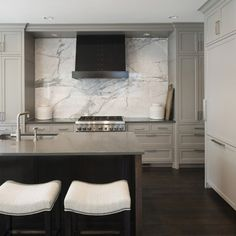 Matte grey cabniets and stunning white marble back splash | Martha O'Hara Interiors
