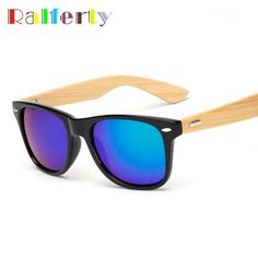 2ffa3454b1fd Ralferty Vintage Bamboo Sunglasses Men Gold Original Wood Sunglass Women  Mirror Sport Goggles Retro Sun Glasses
