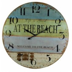 Large At The Beach Wall Clock With Saying Wallclocks Wooden