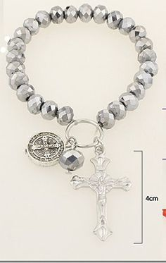 Cross and Coin Stretch Bracelet