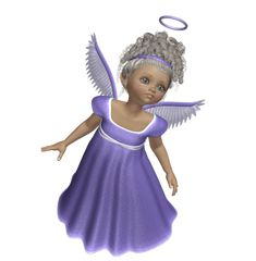 Purple 3D Angels | Cute 3D Angel with Purple Dress PNG Picture
