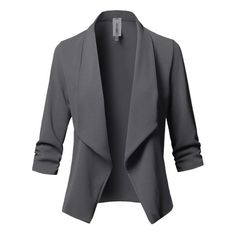Sharpen your wardrobe with this open front ruched sleeve blazer jacket. A softly draped open-front silhouette softens the look while the asymmetrical hem adds a modern touch to this blazer. Suit Jackets For Women, Blazers For Women, Suits For Women, Women Blazer, Black Jackets, Casual Blazer, Casual Wear, Women's Casual, Formal Wear