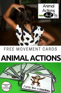 Get kids up and moving with animal action cards. Perfect for brain breaks and gross motor movements. Motor Skills Activities, Movement Activities, Gross Motor Skills, Therapy Activities, Physical Activities, Music Activities, Jungle Activities, Animal Activities, Classroom Activities