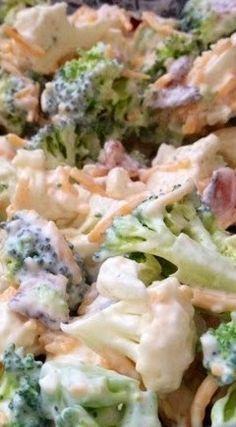 Amish Broccoli/cauliflower Salad Recipe ~ It's to die for I would use greek yogu. Amish Broccoli/cauliflower Salad Recipe ~ It's to die for I would use greek yogurt instead of sou Broccoli Cauliflower Salad, Amish Broccoli Salad, Keto Cauliflower, Broccoli Salads, Vegetable Salads, Cooking Broccoli, Lactuca Sativa, Cooking Recipes, Healthy Recipes