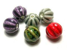 Large Ceramic Lantern Beads Set c by amazingbeads on Etsy