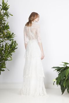 Two piece romantic dress with a collar top and picturesque lace flounce skirt. Divine Atelier, Collar Top, Wedding Gowns, Bohemian, Couture, Chic, Lace, Skirts, Collection