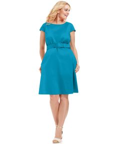 Spense Plus Size Dress, Cap-Sleeve Belted A-Line - Plus Size Dresses - Plus Sizes - Macy's