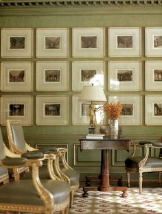 A wall of picture frames.
