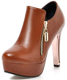 39fad009e904d Summerwhisper Women s Sexy Plain Round Toe Booties with Zipper Chunky High  Heel Platform OL Ankle Boots