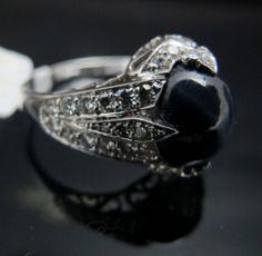 ring - diamonds and star saphire