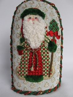 Love the coat -- A Collection of Designs canvas #ACOD 2029 - Christmas Tree Santa, 6x3.5 inch, 18 mesh - theneedlehouse.com