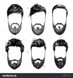 hipster hair and beards, fashion vector illustration set