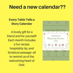 Every Table Tells a Story Wall Calendar