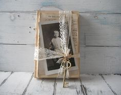 altered vintage books upcycled book bundle tied books cottage chic shabby charm vintage photograph french country vintage inspired by ShabbyRoad on Etsy